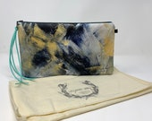 Painted Clutch #44, Painted Bag, Painted Purse, Canvas Bag, Canvas clutch, Unique, Statement Clutch, One of a Kind Bag with Dust Cover