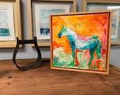 Salt Lake City - Modern Horse painting, Equestrian canvas painting, Original fine art - 11x11 inches Framed - Original Acrylic Canvas Art