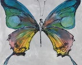 Visit from Above - Butterfly painting, Butterfly canvas painting, Original fine art - Large 20x20 inches Original Acrylic Canvas Painting,