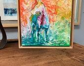 Carson City - Modern Horse painting, Equestrian canvas painting, Original fine art - 11x11 inches Framed - Original Acrylic Canvas Art