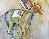 Triple Crown - Modern Horse Painting, Equestrian art, original Race Horse painting, canvas art, horse, Fine Art, acrylic painting, Liz Wiley