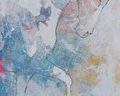 Modern Horse Painting, original equestrian painting VERY Large 48x30 Original, Canvas, fine art, Painting, Abstract