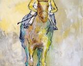 On the Bit - Modern Horse Painting, Equestrian art, original Race Horse painting, canvas, horse art, Fine Art, acrylic painting, Liz Wiley