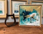 Midnight Stretch - Modern Horse painting, Equestrian canvas painting, Original fine art - 11x11 inches Original Acrylic Canvas Art