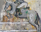 Equitation Class - Large Modern Horse Painting, Equestrian art, Jumper Horse painting, canvas art, horse art, acrylic painting, Liz Wiley