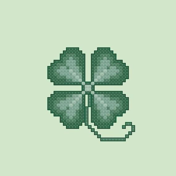 Four Leaf Clover Cross Stitch Pattern Pdf Digital Download Etsy