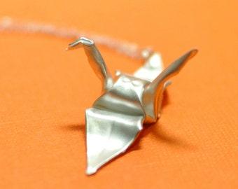 Silver Origami Crane Necklace - Fine Silver Origami Crane Pendant
