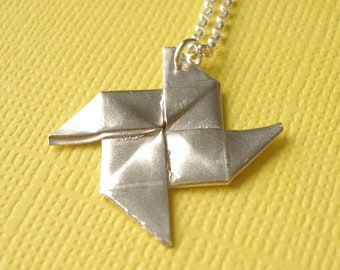 Origami Pinwheel Necklace Small Silver Pinwheel Origami Pendant Summer Necklace
