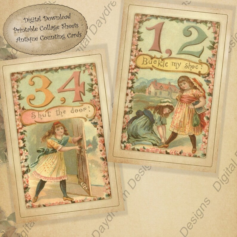 photograph regarding One Two Buckle My Shoe Printable named Electronic Printable Collage Sheet One particular 2 Buckle My Shoe Victorian Counting Playing cards