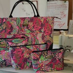 RESERVED for Rebecca K - Custom Aunty Tutu Travel Weekender Overnight Carryon Bag with 3 nesting cosmetic bags