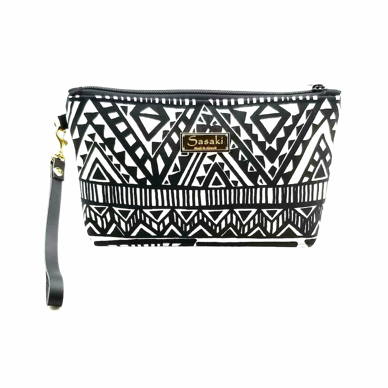 Black and White Wristlet with Leather Strapmade in Hawaii image 0