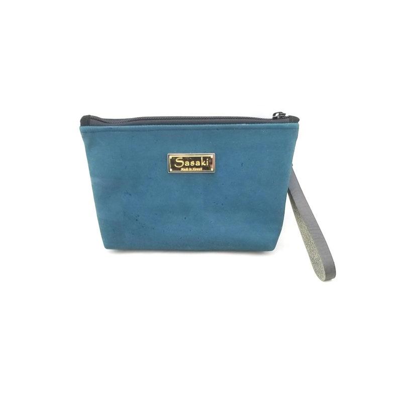 9 x 5  Teal Cork Gadget Bag  zipper pouch  Bag image 0