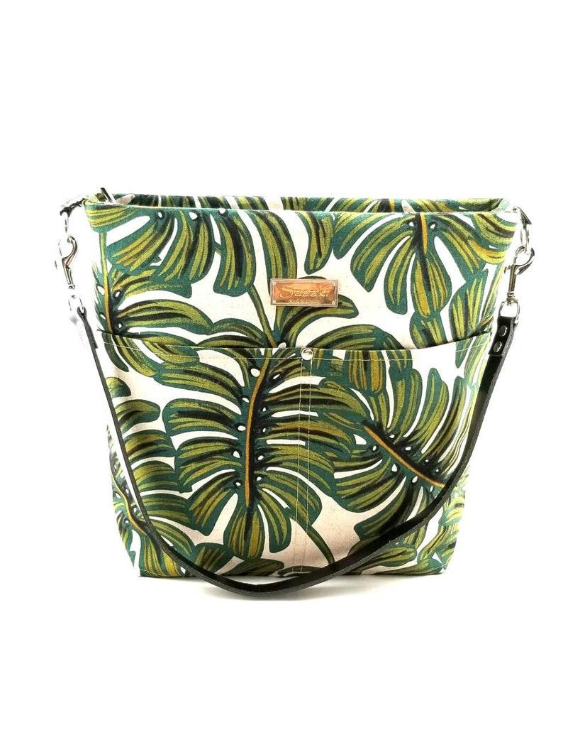 Green tropical Monstera Leaf Shoulder Bag with Leather Strap  image 0