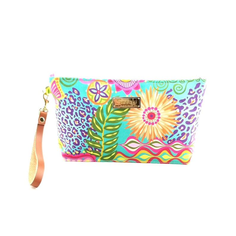 Bright Floral Wristlet with Leather Strapmade in Hawaii image 0