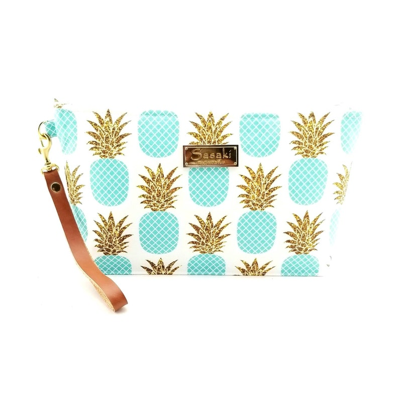 Aqua and Gold Glitter Pineapple Wristlet with Leather image 0