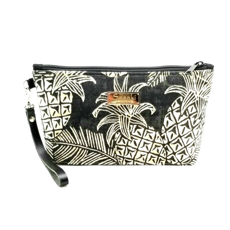 Black Pineapple Wristlet with Leather Strapmade in Hawaii image 0