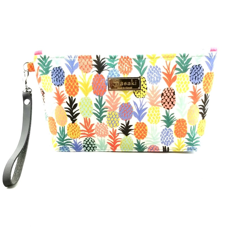 Tropical Pineapple Wristlet with Leather Strapmade in Hawaii image 0