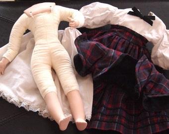 Doll Body & Porcelain Arms, Legs, Shoulder Plate