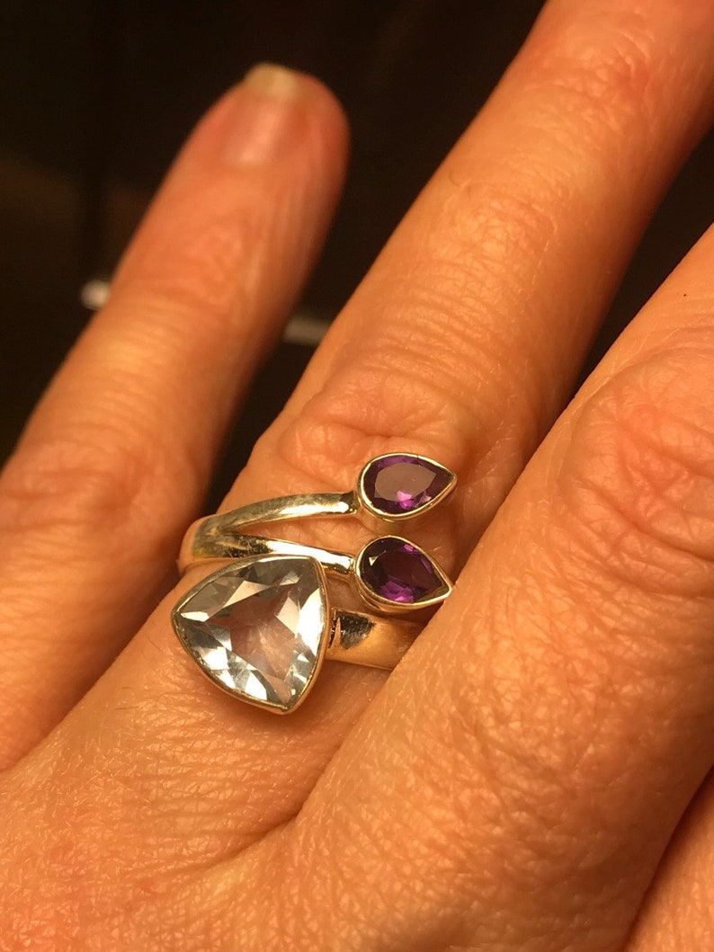 925 Silver Pink to Blue Color Change Alexandrite Adjustable Ring Size 7 12 to 8 12