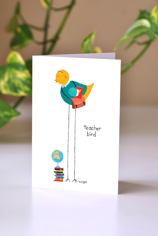 Teacher Bird Greeting Card Thank You Card Card For A Etsy
