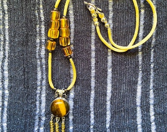 Tiger Eye pendant and glass beads necklace