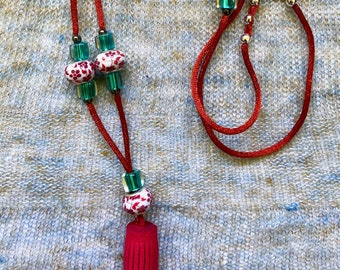 Japanese ceramic beads and leather tassel necklace