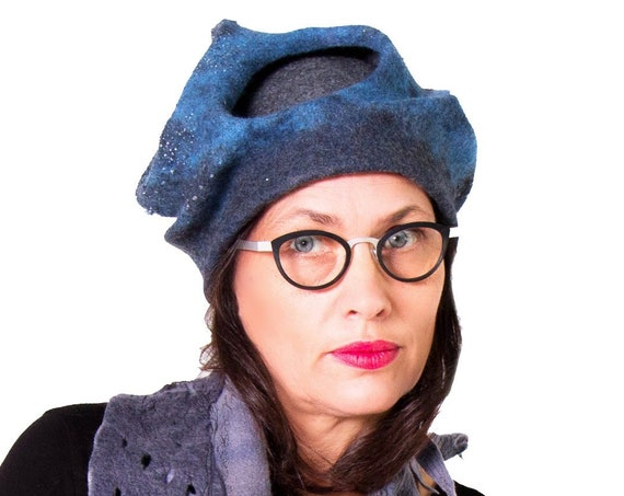 Blue felt hat woman / sculptural nunofelt headdress statement / warm merino wool  art fashion hat handmade by Ariane Mariane / Paris
