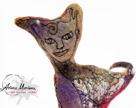 Collectible Art Mermaid Cat Sculpture - Textile Art - Fantasy Critter - Original Art
