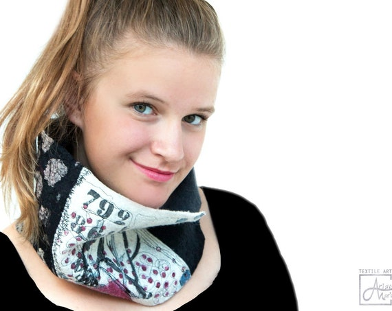 Outstanding wearable art felt collar, bird - dot textile art collage, reversible nuno felted, handpainted accessory; ecofriendly silk - wool