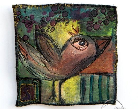 Original Fiber Art 14x14 with Bird - Mixte Media Textile Art - Contemporary Art - Free Hanging Art - Reversible Art
