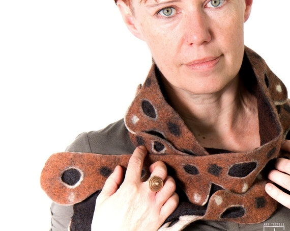 Felted woman scarf/ Rusty brown Steampunk inspired neck Accessory / Nunofelted wool silk Designer Scarves  / Ecofriendly art fashion Paris