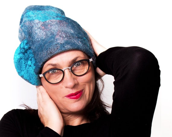 Blue nunofelt hat in outstanding, sculptural shape for funky woman who love fashion statement wearables / Ariane Mariane - Paris
