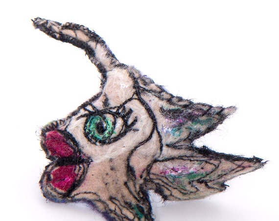 Funky fish pin / sculptural textile art critter brooch / Ariane Mariane / Paris