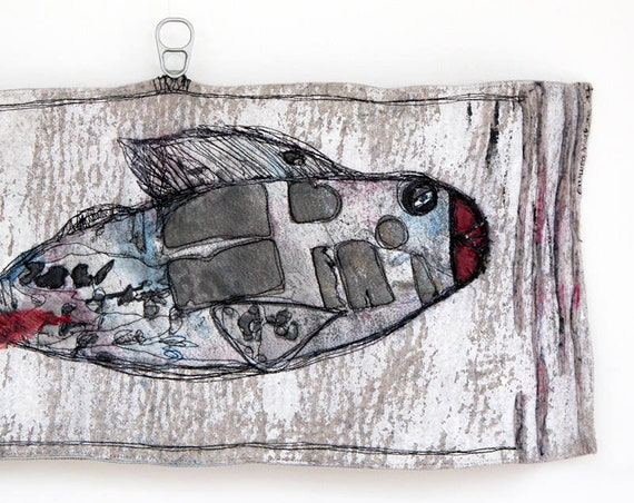 Mixed media textile art wallhanging, fancy fish, hand painted silk application on felt, free motion embroidered with love from Paris