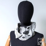 Black and white cowl / Nuno felted silk & wool infinity scarf for fashion statement / Art to wear with ink design by Ariane Mariane / Paris