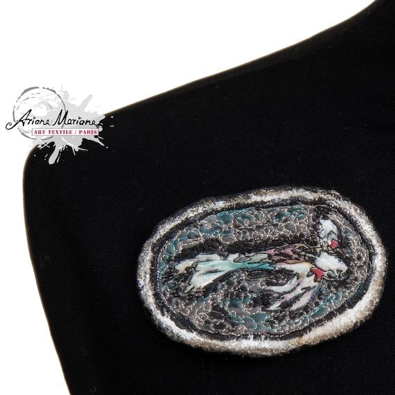 Awesome Mini Art Textile Art Pin with Koi Fish