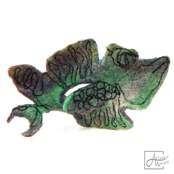 Felted Fish Brooch Textile Pin Shark. Graphic design,free motion embroidery on felt. Authentique Contemporary Fiber Art handcrafted in Paris