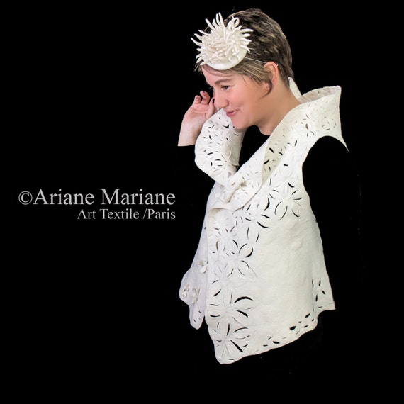 White nuno felt art vest, floral wool fiber wearable art, unique romantic woman garment, ooak handmade design from Paris