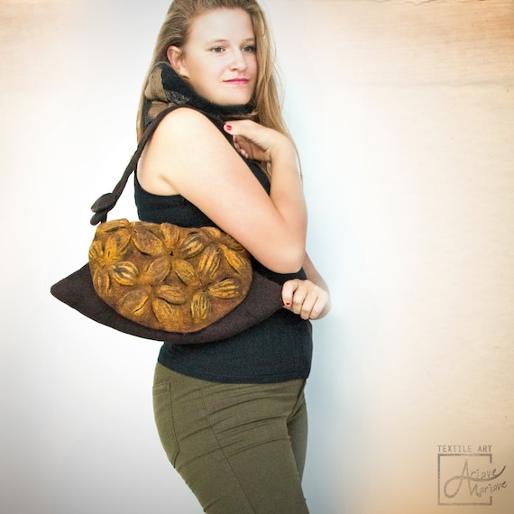 Wearable art bag, sculptural felt bag, 3D flower design, chocolate & mustard brown advanced style lady handbag, eco-friendly art work, Paris
