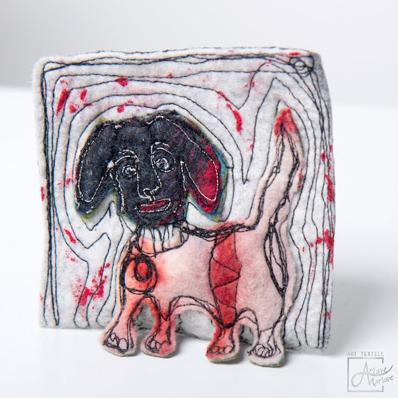 Wearable art dog pin/  textile brooch,felted, free motion embroidered, painted /  original fiber art to pin / arty closing system from Paris
