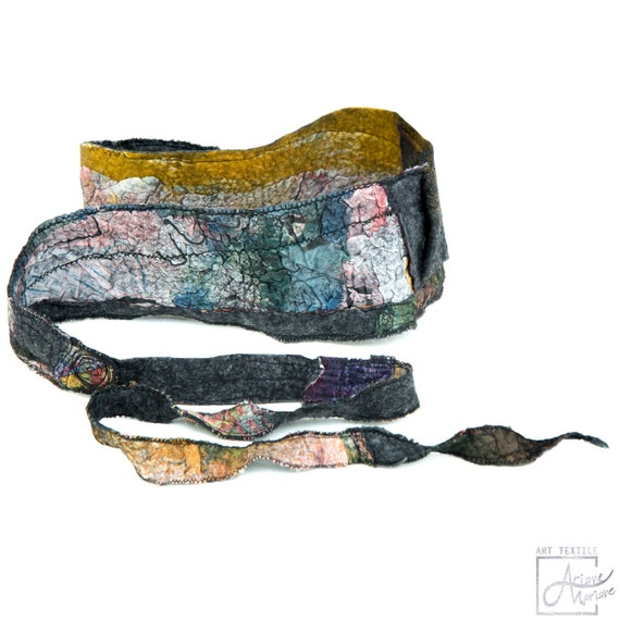 Felt hair band accessory in gray & watercolor/ Hand painted silk, embroidered wool felt /  Outstanding headband, indoor, outdoor fashion