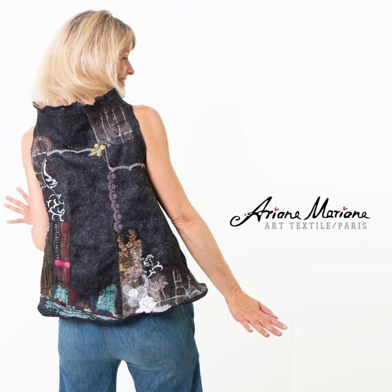Nuno felt vest, merino wool silk with embroidery - Felted Designer Ladies Garment made in Paris - Outstanding Wearable Art