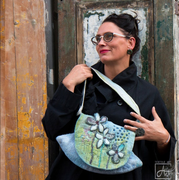 Shabby chic wearable art felt handbag for a stylish lady