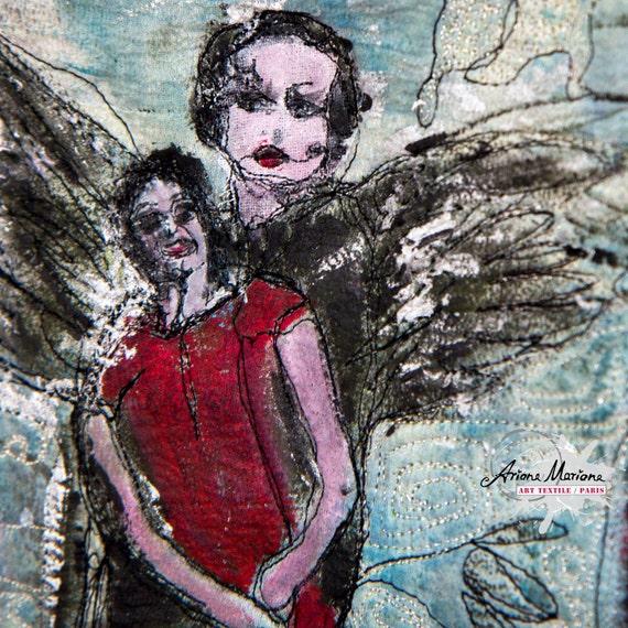 Fantastic Fiber Art Painting - Mixte Media Contemporary Textil Art - Abstract Figurative Art - Dragonfly Women