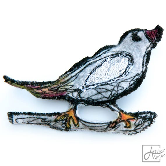Bird on a branch sculptural pin brooch - Fiberart felt brooch -  Light Gray embroidered Bird Felt Brooch - Handcrafted Paris Design