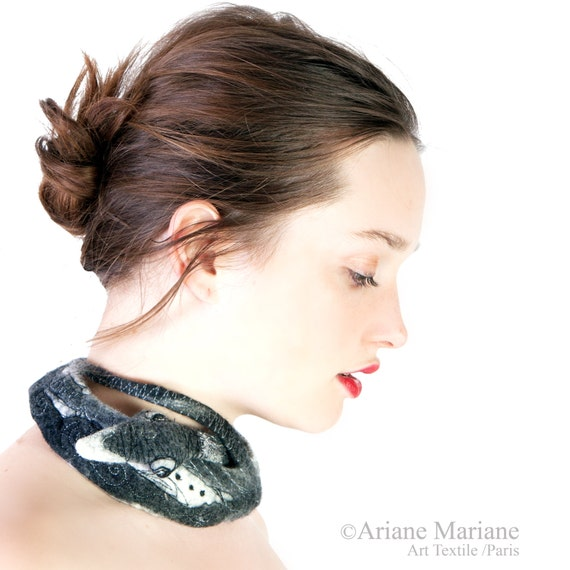 Black gray white felt necklace with goose, contemporary textile jewelry
