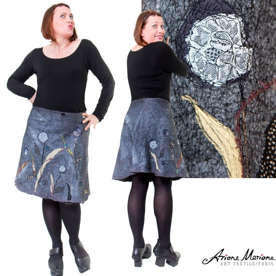 Felt Art Skirt Outstanding Unique Floral Design - Reversible Art Garment Silk Merino Wool - Upcycling Ecofriendly Made in Paris Design