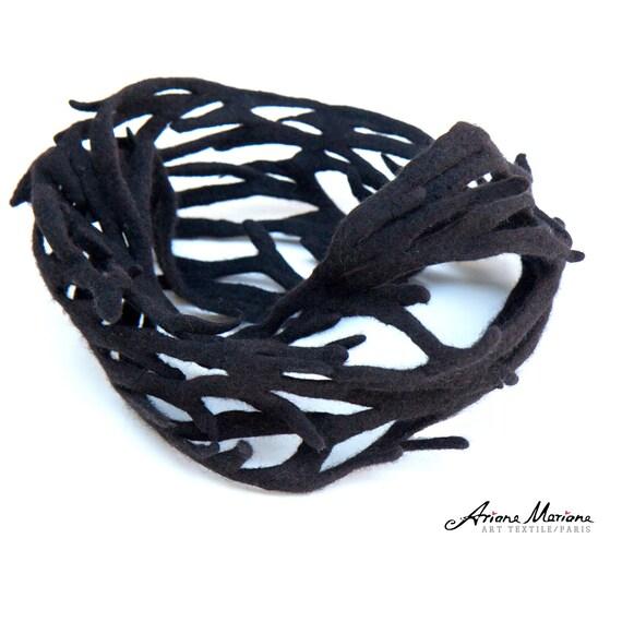 Dark Choclate Brown Felt Cowl Jewellery - Seaweed Inspired Woman Art Scarf Merino Wool - Soft Warm Interior Neckpiece