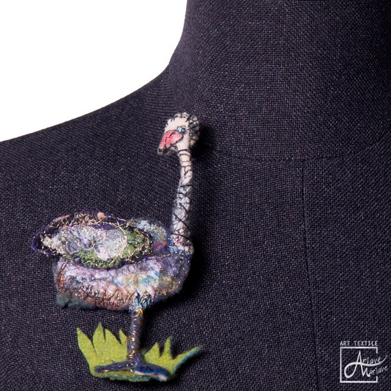Fun Ostrich brooch / sculptural art to pin mini textile critter by Ariane Mariane / Paris