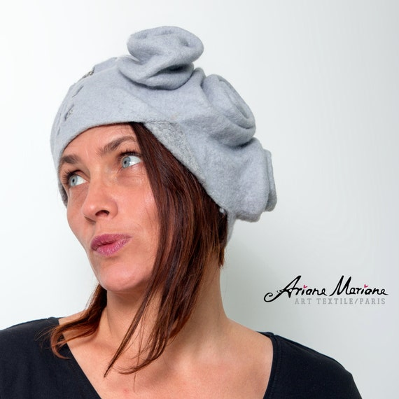 Outstanding Women Felt Hat - Light Gray Sculptural Millinery Headpiece - Piece Unique Wearable Textile Art - Warm Cozy Hat Design - France